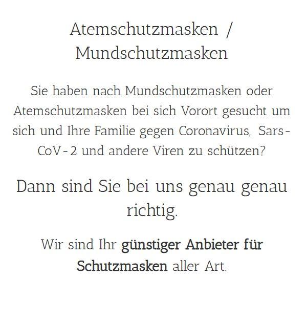 Atemschutzmasken Kerpen (Kolpingstadt): Coronaviren Schutz, Mundschutzmasken