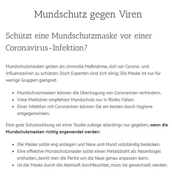 Coronavirus Infektion Mundschutz in Bad Orb