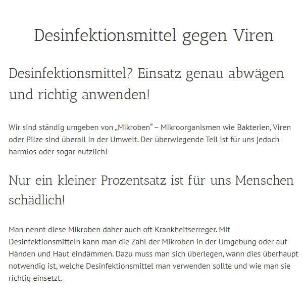 Desinfektionsmittel Gegen Viren für  Wittenberg (Lutherstadt)