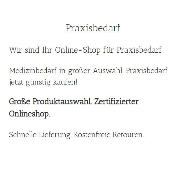 Praxisbedarf für  Rimbach