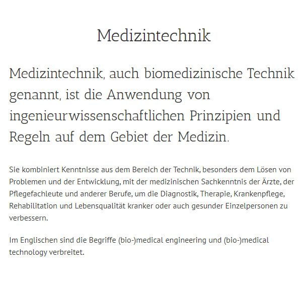 Biomedizinische Technik in  Wangen